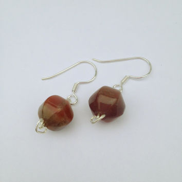 Sterling Silver Red or Maroon Earrings with Fancy Jasper Gemstone Beads, Free Shipping anywhere in the USA