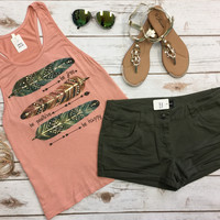 Be Free Be Positive Be Happy Tank: Peach