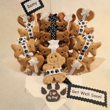 Get Well Dog biscuit treat dog gift basket, unique gift, custom, personalized, black and white paw print