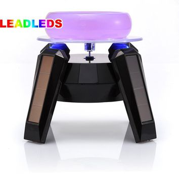 360 Degree Black Solar Turntable Rotating Jewelry Watch Phone Ring Display Stand / LED light 5 pieces free shipping