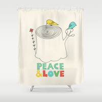 Peace & Love Shower Curtain by Eric Fan