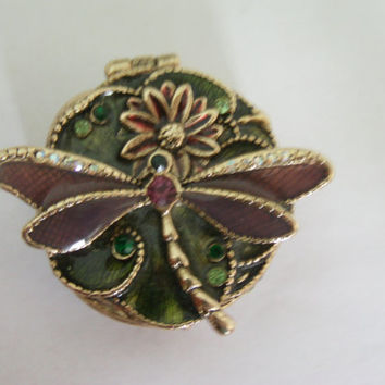 Vintage Dragonflies / Jewelry Box / Monet Box / Enamel Box / Dragonfly Box / Unusual Box / Designer  Box /  / Free Shipping !