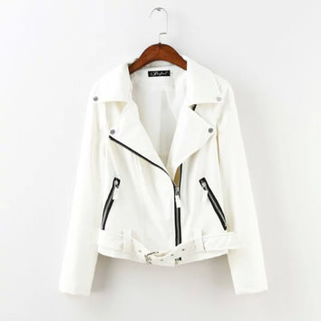 Leather Zippered Collar Jacket