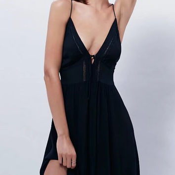 Black Plunge V-neck Lace Up Back Spaghetti Strap Mini Dress