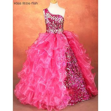Free shipping High quality  Latest original design  Kids beauty pageant dresses kids prom dresses