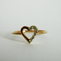 Vintage Gold Plated Heart Cutout Ring/ Size 6
