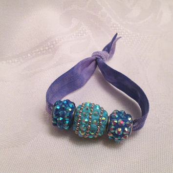 Fold over elastic hair tie, Teal disco bead, Sparkling bracelet, Rhinestone beads, Purple tie dye, Wedding, Fancy Prom bracelet, Homecoming