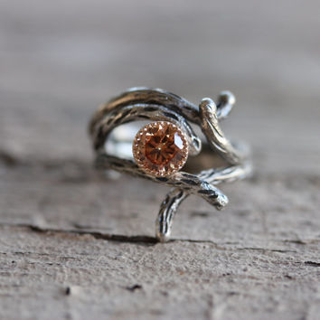 Branch Engagement Wedding Ring Set Silver Gold CZ Peach Rustic - Sparkle Bark and Shadow Bark