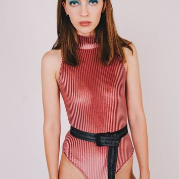 Prink Textured Highneck Bodysuit