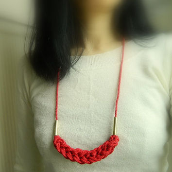 Red Knot minimalist Necklace, gold, adjustable Fiber Necklace,Rope Necklace, tassel necklace, natural, Nautical Necklace,boho jewelry