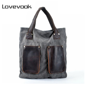LOVEVOOK brand women handbag high quality canvas tote bag female large capacity leather handbags shoulder bags