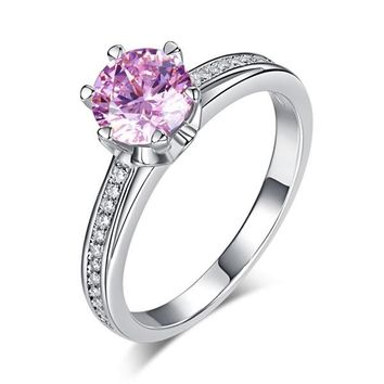 6 Claws 925 Sterling Silver Wedding Promise Anniversary Ring 1.25 Ct Fancy Pink Simulated Diamond Jewelry