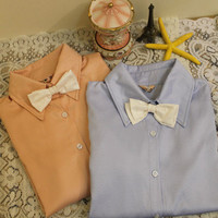 Removable bow tie collar long sleeves shirt [150]