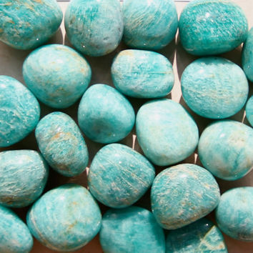 AMAZONITE (Grade A Natural) Tumbled Polished Stones Gemstone Rocks for Healing, Yoga, Meditation, Reiki, Wicca, Crafts, Jewelry Supplies