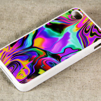 Art Abstract Color Mix iPhone 4 iPhone 4S Case, Rubber Material Full Protection