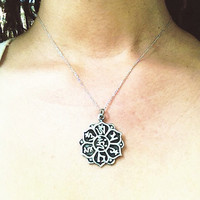 Om Compassion Mantra Lotus Necklace