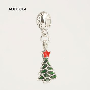 Charms For Bracelets 10 Pcs a Lot Christmas Collection Pendants Tree Fits Pandora Brac