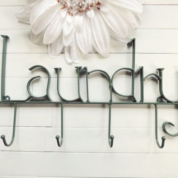 Custom Laundry Room Decor / Laundry Room Sign / Laundry Room Wall Decor / Sage Decor / Laundry Hooks / Towel Rack / Clothes Line / Wall Hook