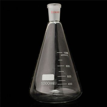 Best Price  24/40 1000ml/1L Glass Erlenmeyer Flask Conical Bottle Lab Chemistry Glassware