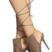 Taupe Faux Suede Lace Up Peep Toe Heels @ Cicihot Heel Shoes online store sales:Stiletto Heel Shoes,High Heel Pumps,Womens High Heel Shoes,Prom Shoes,Summer Shoes,Spring Shoes,Spool Heel,Womens Dress Shoes