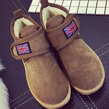 Streetstyle  Casual Flag Union Jack Hook Loop Flat Casual Boots For Women