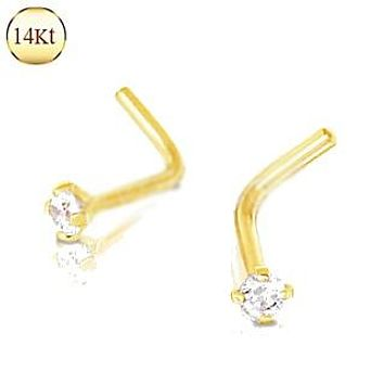 14Kt Yellow Gold Prong Set Clear CZ L Bend Nose Ring