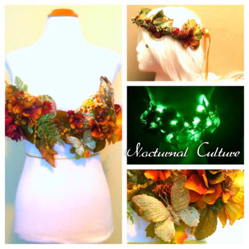Light Up Forest Fairy Rave outfit  ( Includes: light up rave bra & forest fairy headband)