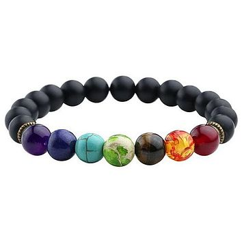 7 Chakra Bracelet with Black Lava Healing Beads