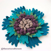 Huge Crochet Flower in Peacock Colors to embellish your bag, cushion, hat. READY TO SHIP