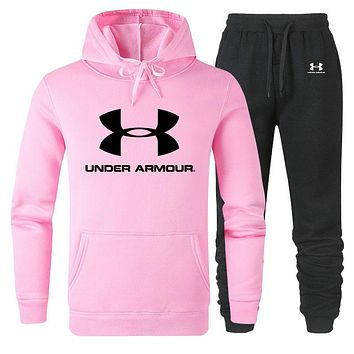 Under Armour Autumn And Winter New Fashion Letter Print Long Sleeve Sweater Sports Leisure Top And Pants Two Piece Suit Men Pink