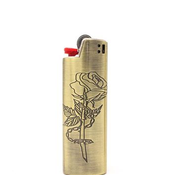 Chained Rose Standard Metal Lighter Case