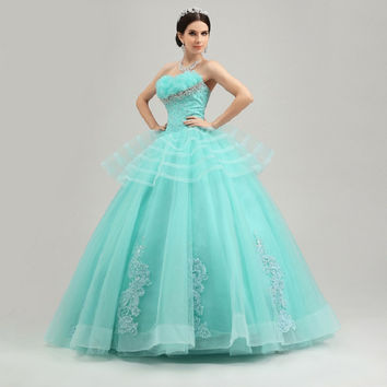Custom Made Organza Embroidery Appliques Crystal Tiered Strapless Ball Gown Floor-Length Quinceanera Dresses Sweet 16 Ball Gowns
