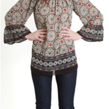 Emma Rose Bell Sleeve Medallion Border Print Top 20389