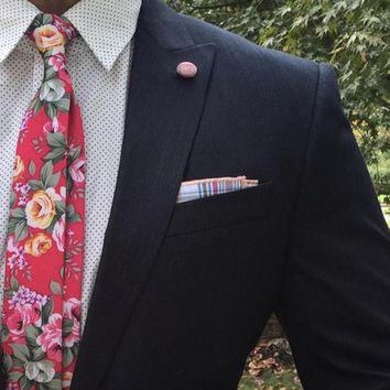 Skinny Pink Floral Tie Boyfriend Gift Men's Gift Anniversary Gift for Men Husband Gift Wedding Gift For Him Groomsmen Gift for Friend Gift