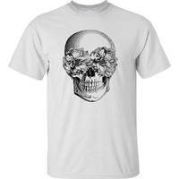 Mens Floral Skull Screen Printed Shirt White S M L