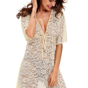 Yellow See-through Lace Cover Up Dress