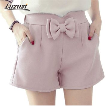 2017 New Girls Sweet Kawaii Short Women Summer Hot Short High waist chiffon shorts elastic waist with Bow short feminino