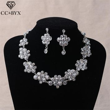 CC bridal jewelry sets for women stud earrings necklace flower shape engagement wedding accessories party beach rhinestone tl064