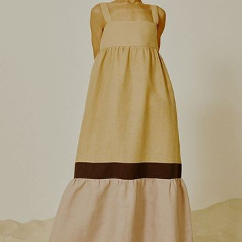Tricolor Long Dress - Beige/Purple/Lilac
