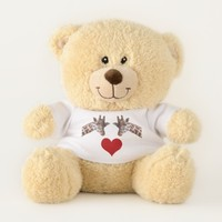 I Love You Giraffes with Red Heart Teddy Bear