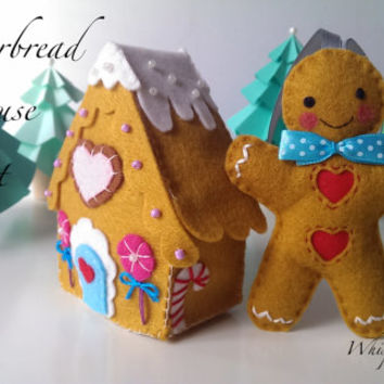 Gingerbread Man Set, Gingerbread House with One Gingerbread Man and Four Paper Trees, Christmas Decoration, Beautifully detailed creation.