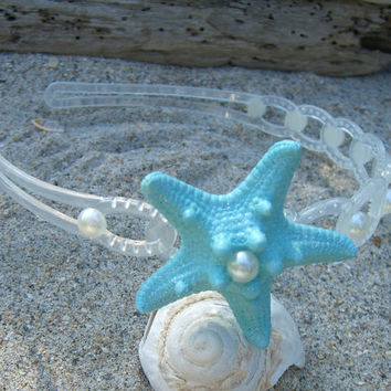 Starfish Mermaid Headband-SCUBA BLUE-Beach Weddings, Mermaids, Destination Wedding, Tiffany Aqua Blue, Starfish Hair Accessories, Seashore