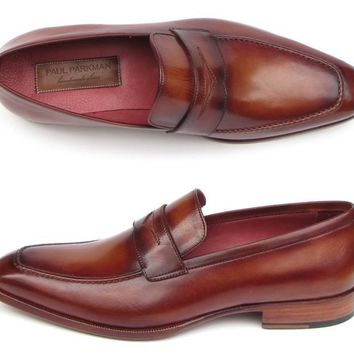 Paul Parkman (FREE Shipping) Men's Penny Loafers Tobacco & Bordeaux Hand-Painted Shoes (ID#067-BRD)