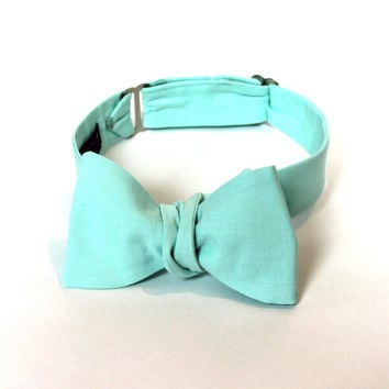 Men's Bow Tie - Fresh Mint Bowtie - IN STOCK - Freestyle self tie - Adjustable - to match J Crew Fresh Mint Bridesmaid Dresses