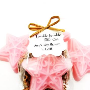 Pink Star Soap Baby Shower Favors with Personalized Twinkle Twinkle Little Star Tags, Set of 12