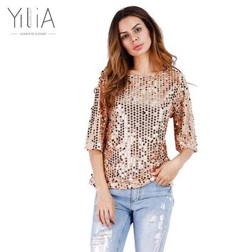 Yilia HOT New 2017 Fashion Women Sexy Loose Sequined Glitter Blouses Summer Casual Shirts Vintage Streetwear Party Tops