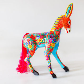 Mexican Folk Art - Wood Carving by MARIA JIMENEZ : Donkey