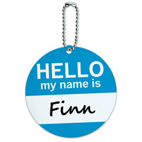 Finn Hello My Name Is Round ID Card Luggage Tag