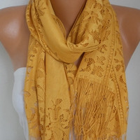 Mustard Tulle Scarf Spring Summer Scarf Mother's Day Gift Cowl Bridesmaid  Bridal Accessories Gift Ideas for Her Women Fashion Accessories