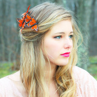 butterfly hair comb, orange monarch hair comb